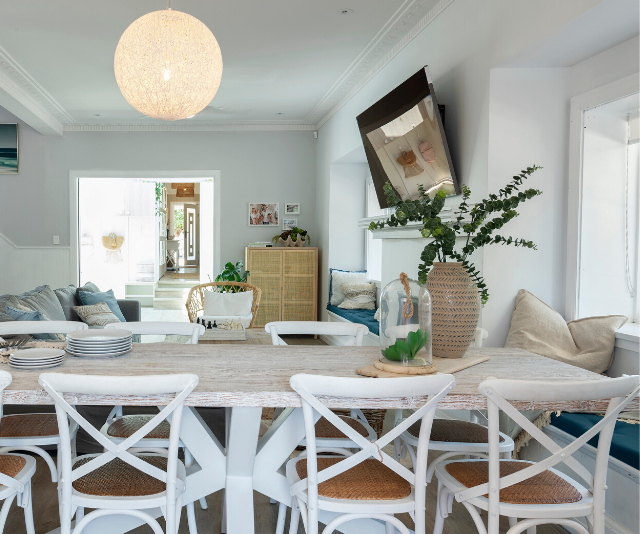 Tamara and Rhys had better luck in the dining room. Saul loved the statement table and the texture added thanks to the pendant light. <br><br> **WATCH: Kyly Clarke shares styling tips. Gallery continues...**
