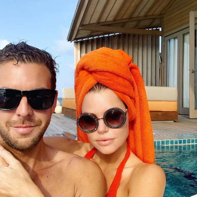 The couple soaked up the sun on their first overseas trip together in the Maldives.