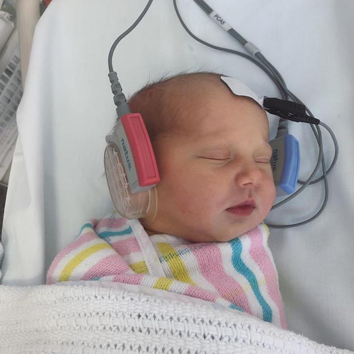 """Jasmine's sister Jade Yarbrough uploaded this cute snap of Harper resting in hospital.  <br><br> """"Big day listening to Dre 🎶 Taking after her Aunty already. Welcome to this crazy beautiful world, little Harper May Stefanovic. You are perfection,"""" Jade wrote."""