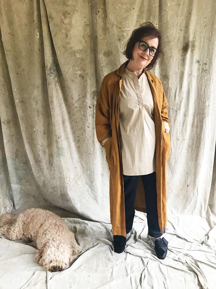 My mum Regina kindly offered her modelling expertise... along with our sleepy pup Tosia! Here she models the first look, which I've called 'at-home goddess'.