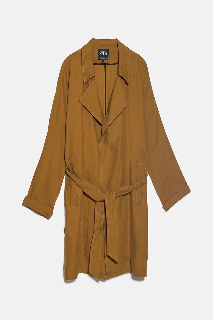 "**Zara flowing coat with belt, $169.** Get it from their [online store](https://www.zara.com/au/en/flowing-coat-with-belt-p03297917.html?v1=34161799&v2=1009503|target=""_blank"")."