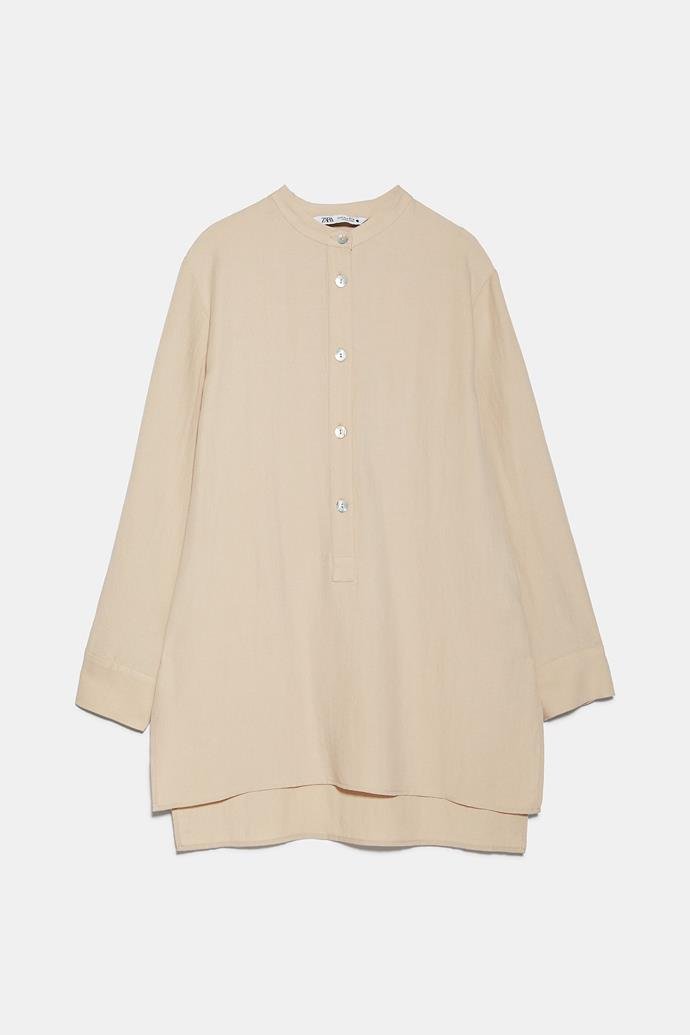 """**Zara blouse with contrast button, $69.95** Order one [here](https://www.zara.com/au/en/blouse-with-contrast-buttons-p04437053.html?v1=49063368&v2=1010219