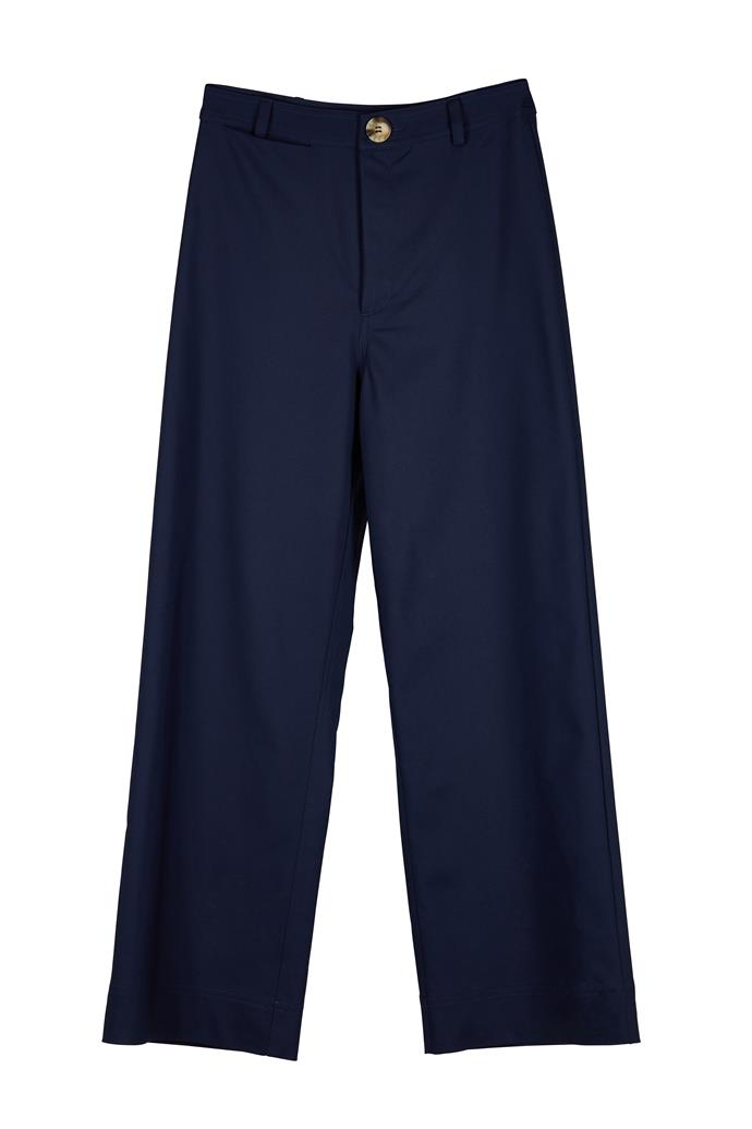 "**Elka Collective pant, $169** Purchase it [here](https://elkacollective.com/shop/apparel/pants/ingrid-pant-navy/|target=""_blank"")."