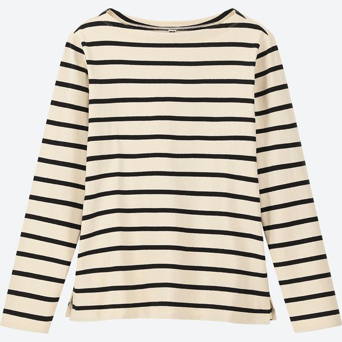"""**UNIQLO striped T-shirt, $19.90** Purchase it [here](https://www.uniqlo.com/au/store/women-striped-boat-neck-long-sleeve-t-shirt-4182300001.html#colorSelect
