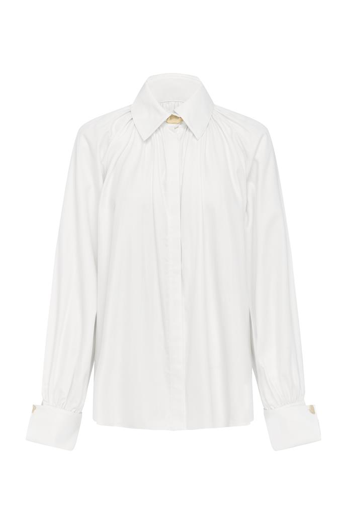 "**Aje smock shirt, $275** Check it out online [here](https://ajeworld.com.au/collections/tops/products/liberation-herringbone-smock-shirt-eggshell|target=""_blank"")."