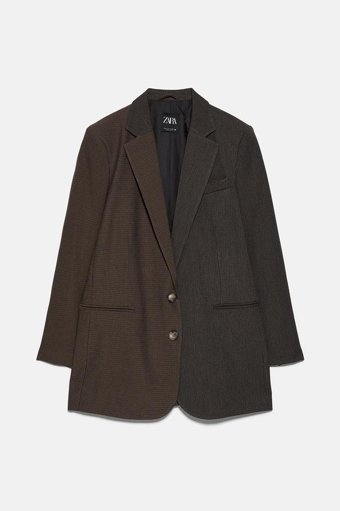 "**Zara checked blazer, $139** Order one online [here](https://www.zara.com/au/en/combined-check-blazer-p00905200.html?v1=38315229&v2=1010155|target=""_blank"")."