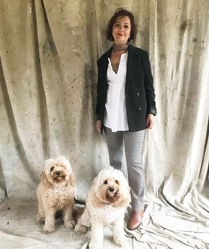 Word got out about our shoot... and our second furry friend, Lola, showed up! Mum was happy to share the spotlight as she modelled my working mum look.