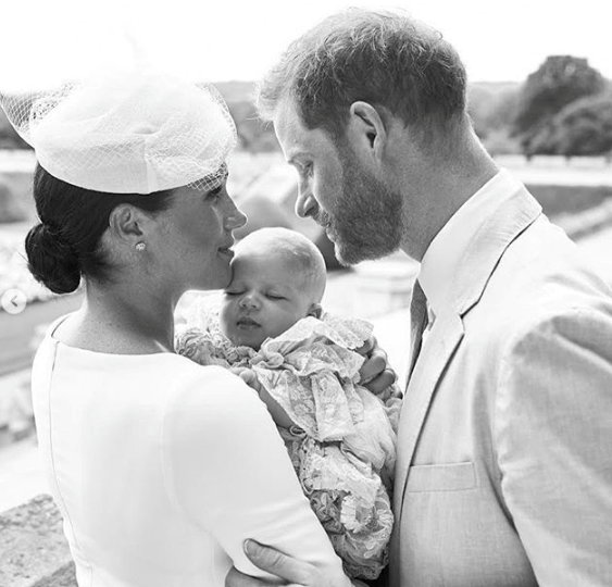 Harry, Meghan and Archie featured in a stunning image taken at the royal christening.