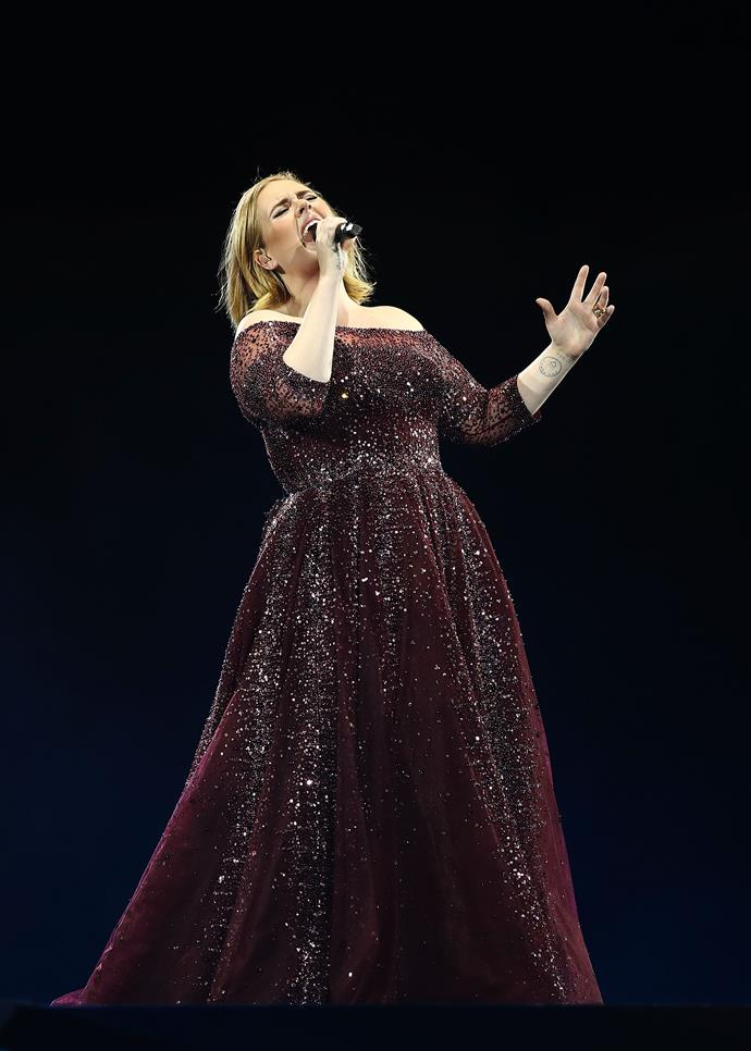 Adele (pictured here in 2017) doesn't look like this anymore.