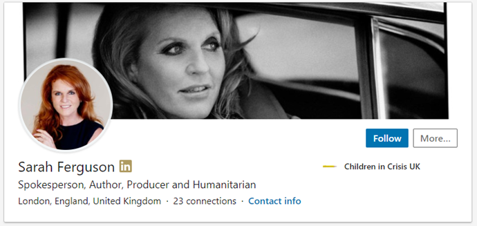 """The Duchess of York's professions are listed as """"Spokesperson, Author, Producer and Humanitarian."""""""