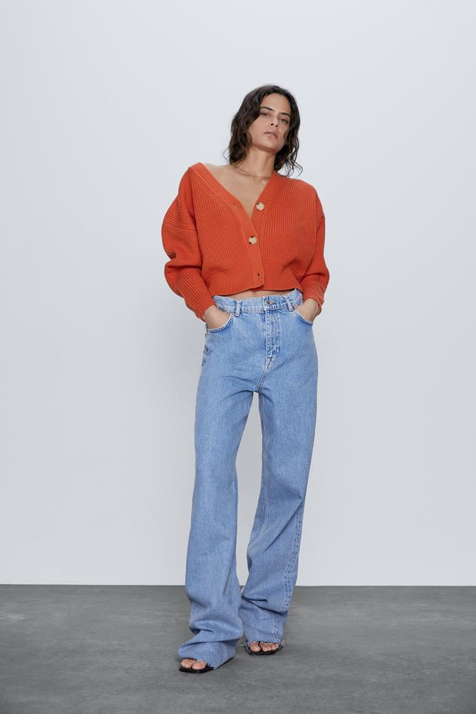 """If you're after a burst of colour, this tangerine dream from Zara is the way to go. $59.95, [buy it online here](https://www.zara.com/au/en/knit-cardigan-with-buttons-p03519007.html?v1=36127013&v2=1010050