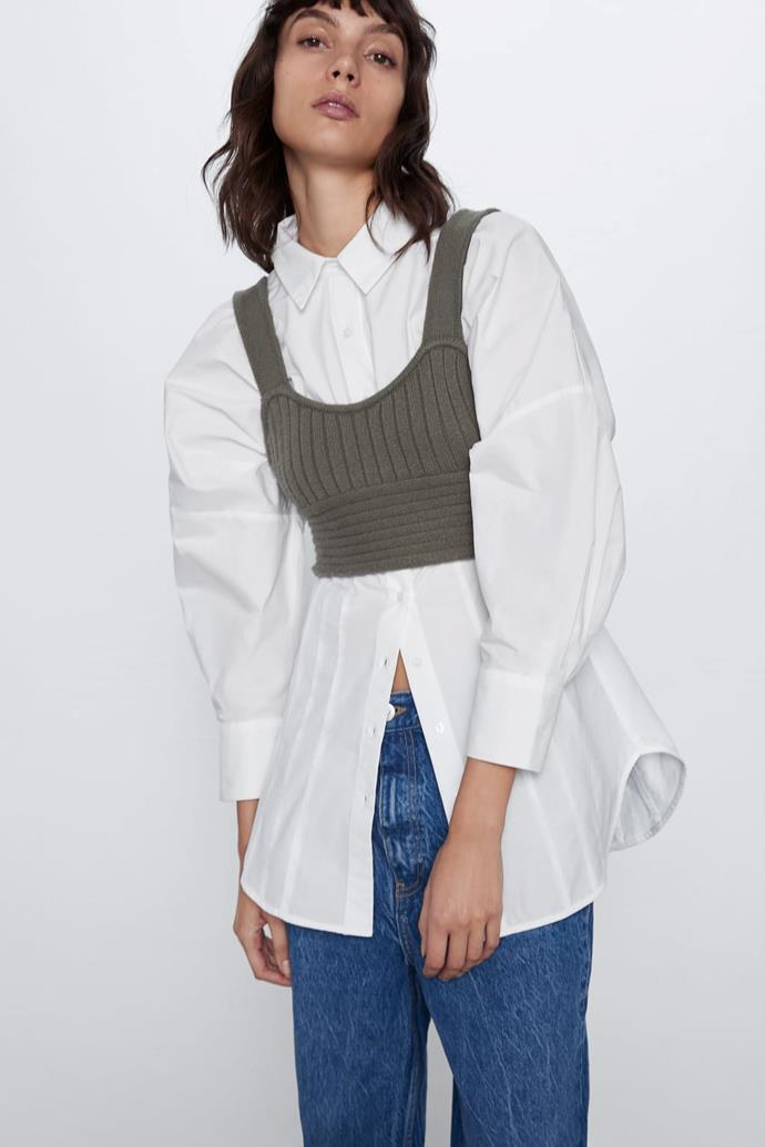 """Another brand to nail that Kate Holmes-esque look, Zara created this delicate knitted crop top in grey. $29.95, [buy it online here](https://www.zara.com/au/en/knit-cropped-top-p05755014.html?v1=42196874&v2=1010050