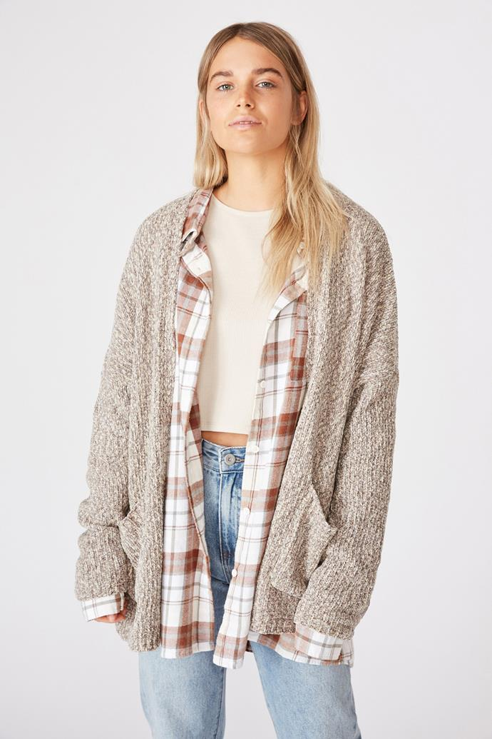 """Slouched to perfection, this loose drop shoulder style from Cotton On is a game changer. $27.99, [buy it online here](https://cottonon.com/AU/woodsen-slouchy-drop-shoulder-cardi/2009217-02.html