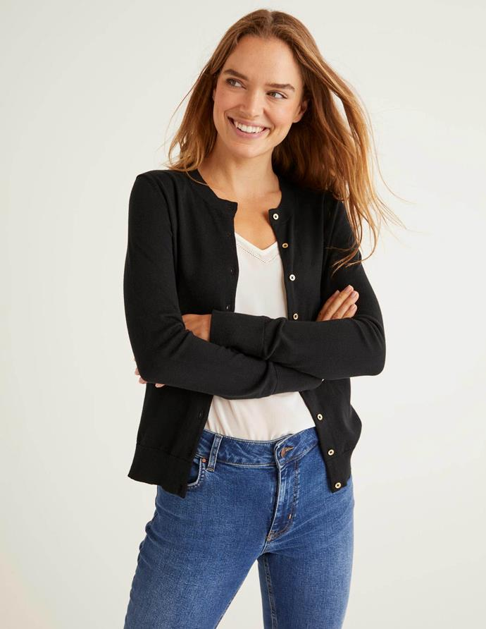 """Simple, yet significant - you can't go wrong with a basic black cardi like this Boden creation. $98, [buy it online here](https://www.bodenclothing.com.au/en-au/eldon-cotton-crew-cardigan-black/sty-k0319-blk