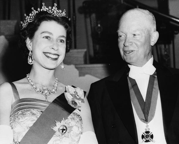 Queen Elizabeth II and President Dwight  Eisenhower at a White House State banquet in 1957.