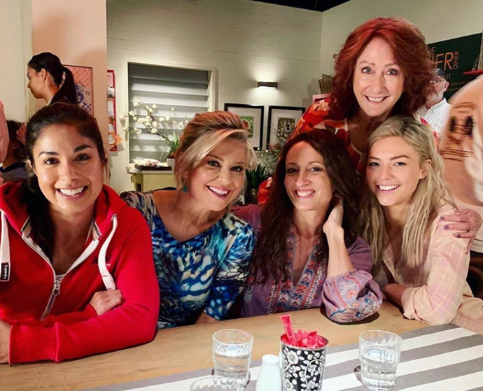 On the set of *Home and Away* with (from left) Sarah Roberts, Emily Symons, Georgie Parker and Lyn McGranger.