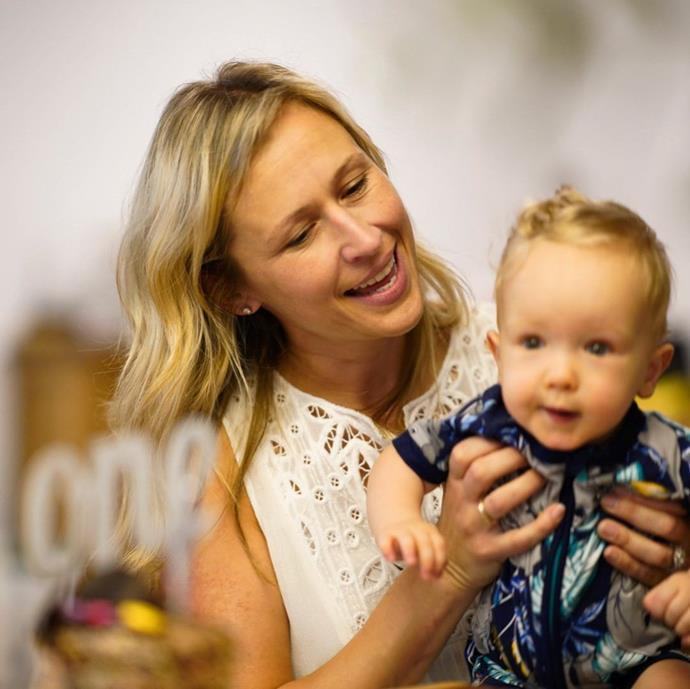 Jock's wife Lauren and their son Alfie.