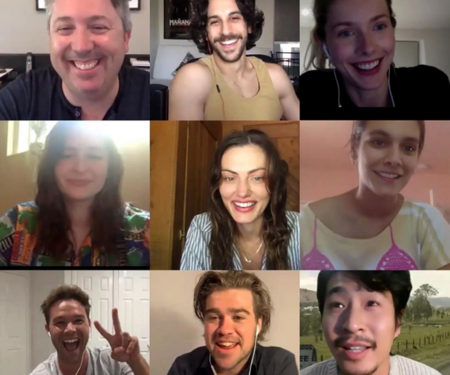 The cast got together via video call.