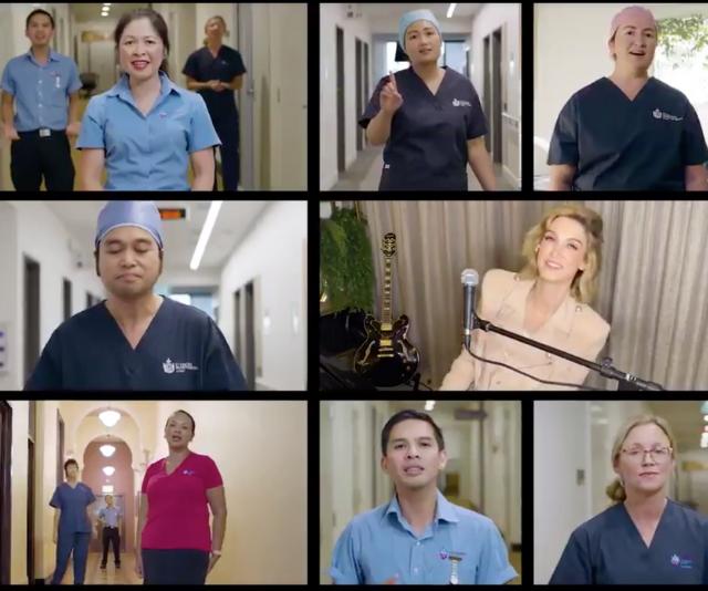 Delta sang alongside Sydney nurses.