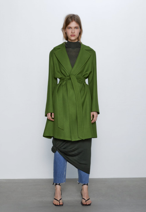 "When it comes to winter, global fashion giant Zara knows a thing or two about keeping cosy while still looking supremely chic. This mossy green wrap coat is case in point. $189, [buy it online here](https://www.zara.com/au/en/belted-coat-p02493727.html?v1=44190087&v2=1009503|target=""_blank""