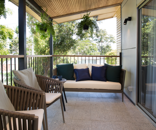 Every Queensland home needs a tranquil outdoor space, so that's exactly what Laith and George gave Tamara and Rhys. The judges questioned the boys' choice in furniture but absolutely loved their timber ceiling detail.