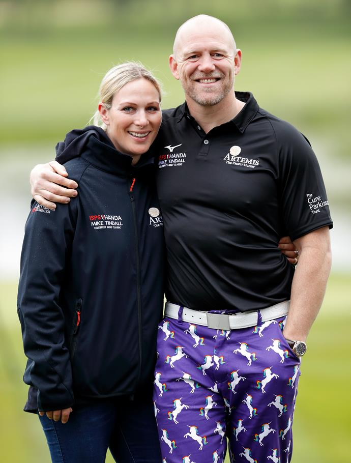 If Prince William wore this, he'd be the talk of the town, but as for down-to-earth Mike? No one batted an eyelid at these, er, *loud* trousers. Quite the ensemble for a day out golfing...