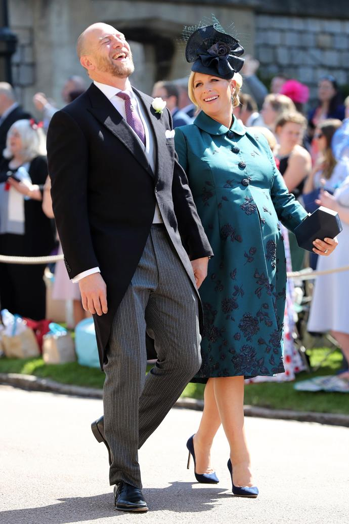 Heavily pregnant Zara and husband Mike shared a laugh at Prince Harry and Duchess Meghan's wedding back in 2018 - if only we knew what the joke was...