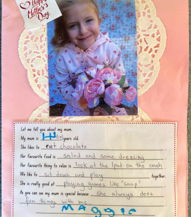 "Maggie certainly knows how to make mum happy on Mother's Day! Sonia captioned her photo of this sweet gift: ""So I like to 'eat chocolate' 🍫 Whatever...I'm only 14."""