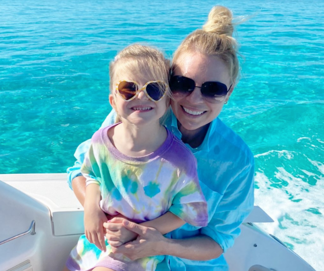 Is it just us or are Maggie and Sonia already mother-daughter style goals? The duo are nailing vacation-chic, particularly those cute heart-shaped sunnies.