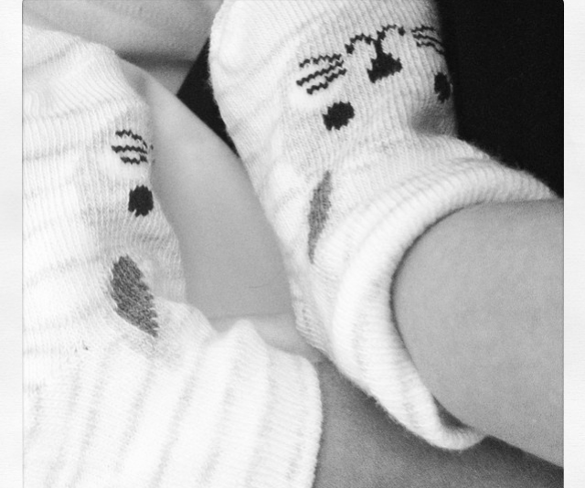 Welcome to the world, Maggie! Sonya announced the arrival of her daughter, born in January 2015 with this cute sneak-peek of her feet.