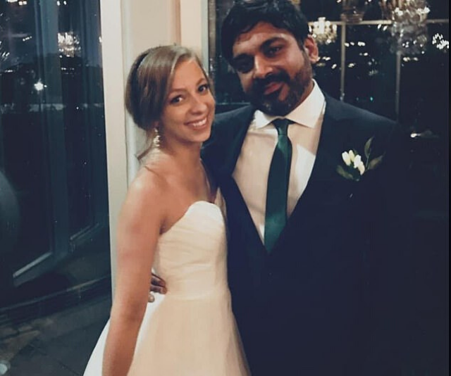 Maria pictured with her husband on their wedding day.
