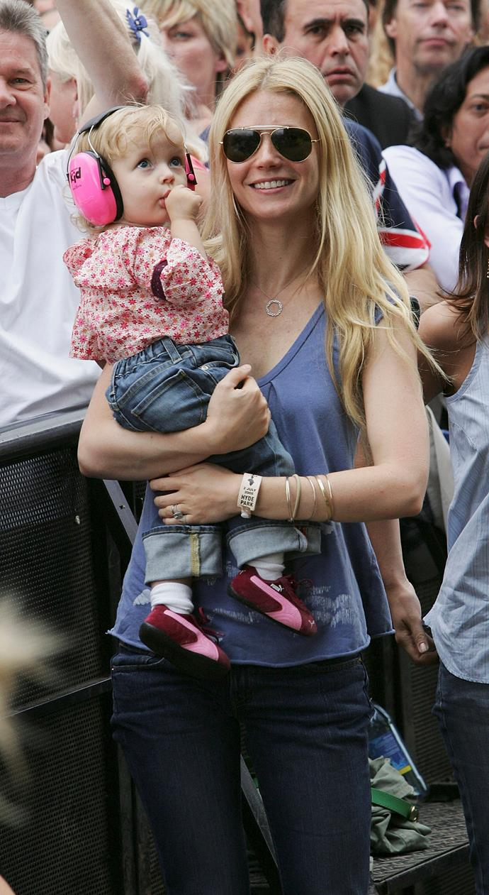 Too cute! Little Apple and Gwyneth sharing a sweet mother-daughter moment.