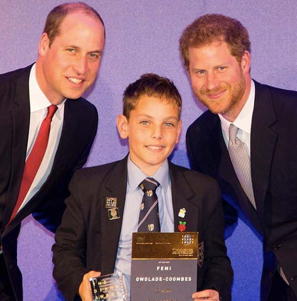 The two Princes' have supported the Diana Award for a number of years.