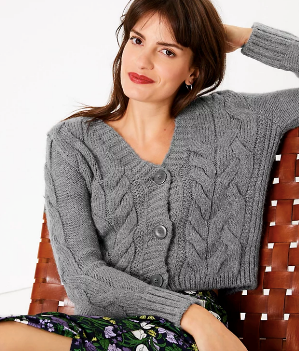 """Classic, cropped and classy. This Marks & Spencer number ticks all the boxes. $62.50, [buy it online here](https://www.marksandspencer.com/au/cable-knit-v-neck-cropped-cardigan/p/P60447744.html