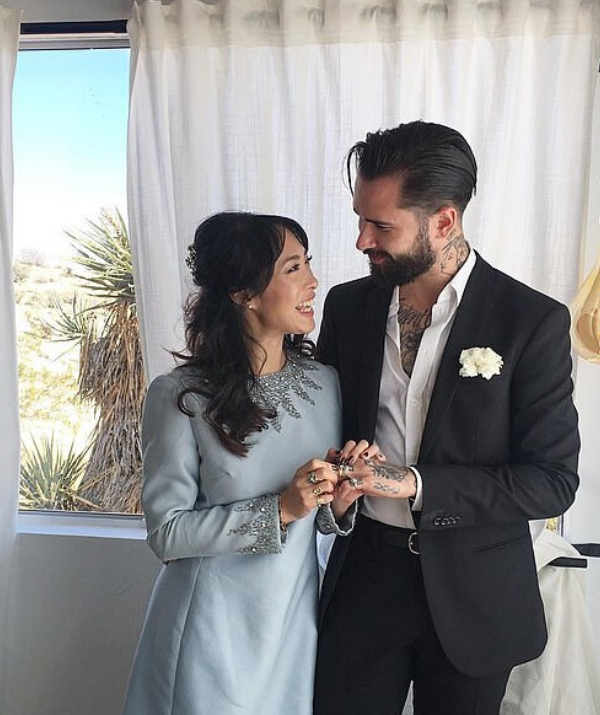 The trendy couple married in secret in 2017 at rock'n'roll inspired ceremony at the Joshua Tree National Park in California.