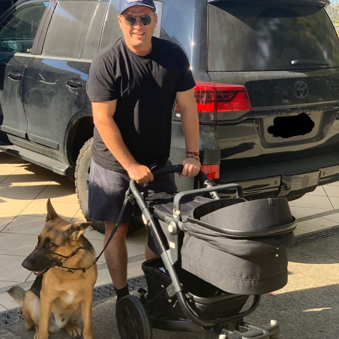 """""""Daddy's new wheels,"""" Jasmine joked alongside a picture of Karl pushing Harper in her stroller with their dog, Chance The Yapper beside him."""