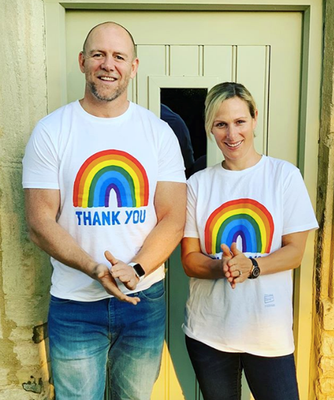Zara and Mike Tindall thank NHS workers in rainbow T-shirts.