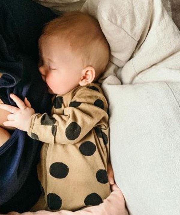 Edwina shared this shot of a peaceful sleeping Molly to mark her first Mother's Day.