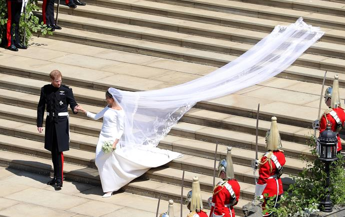 "And you can't look past that veil, which was later revealed to [have symbols from all 54 Commonwealth countries embroidered](https://www.nowtolove.com.au/royals/british-royal-family/meghan-markle-wedding-dress-48147|target=""_blank"") in it - a sweet nod to Harry's family legacy."