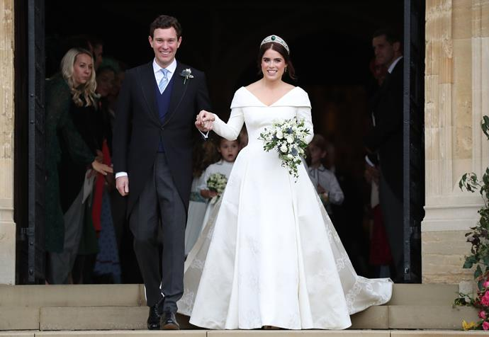 "On October 12, 2018, Princess Eugenie wed her long time love Jack Brooksbank in a beautiful ceremony at St George's Chapel in Windsor (the very same place Meghan and Harry married just a few months prior). While the spectacle itself was one for the ages, Eugenie's [unique V-neck dress](https://www.nowtolove.com.au/royals/british-royal-family/princess-eugenie-wedding-dress-51694|target=""_blank""), designed by Peter Pilotto and Christopher de Vos generated more buzz than ever."