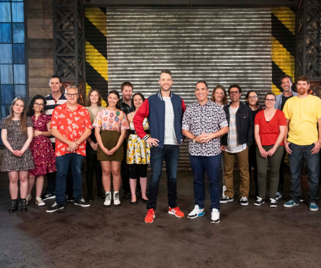 "All of this year's Lego Masters contestants, pictured with host Hamish Blake and judge Ryan ""The Brickman"" McNaught."