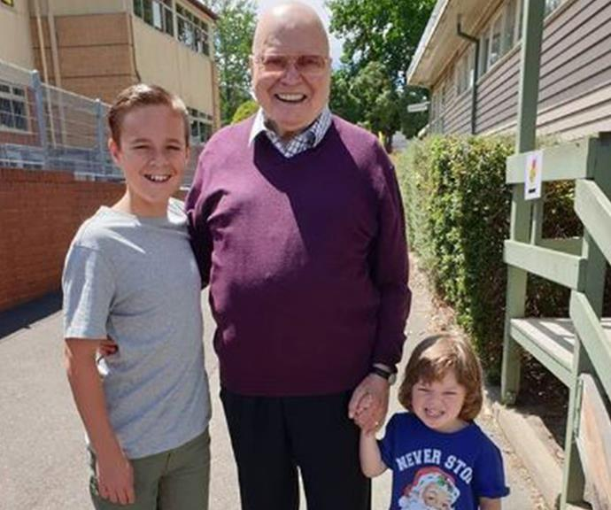 Bert with grandsons Sam (L) and Monty (R).