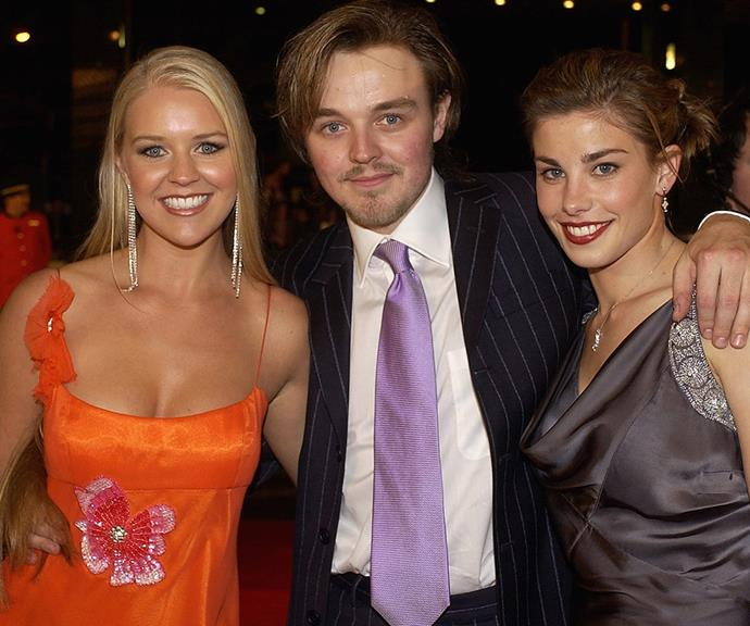 Matthew pictured with his sister Lauren (L) and then girlfriend Brooke Satchwell at the 2003 *TV WEEK* Logie Awards.