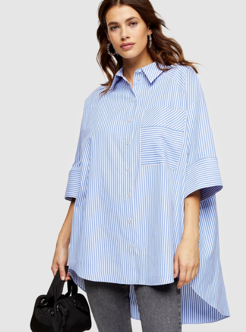 "If you love a stripe, this crisp, oversized shirt from TopShop is comfy *and* chic. $44.95, [buy it online via The Iconic here](https://www.theiconic.com.au/stripe-poplin-shirt-1078597.html|target=""_blank""