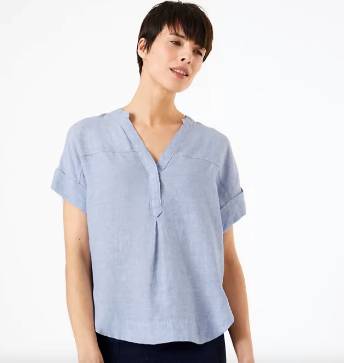 "If you're after a short-sleeved look, this simple, yet stylish Marks & Spencer shirt is the way to go. $59, [buy it online here](https://www.marksandspencer.com/au/pure-linen-popover-blouse/p/P60374810.html|target=""_blank""