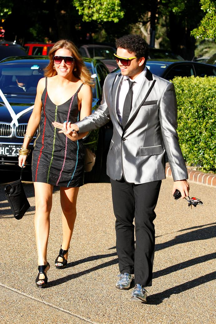 Guy rocking another Jazzy suit with Jules on their way to Kyle Sandilands' wedding to singer Tamara Jaber in 2008.