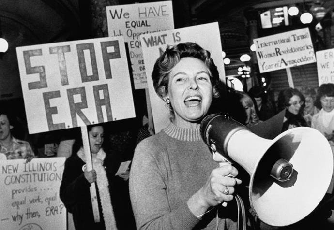 Stop ERA national Chairman Phyllis Schafly leads members opposed to the equal rights amendment in a song about the pro-ERA forces plan for a national demonstration in the capitol city.