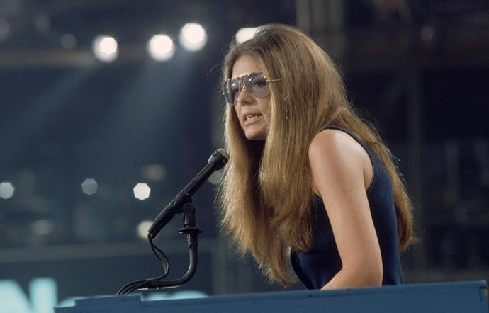 Gloria Steinem giving a speech in 1972. She still tours and speaks on feminism and women's rights to this day.