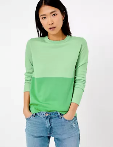 "A splash of green (or greens) never goes amiss - this Marks & Spencer jumper is perfect dressed down for a day at home, or up for a rare, albeit sweet social outing. $62.50, [buy it online here](https://www.marksandspencer.com/au/pure-merino-wool-colour-block-jumper/p/P60429187.html|target=""_blank""