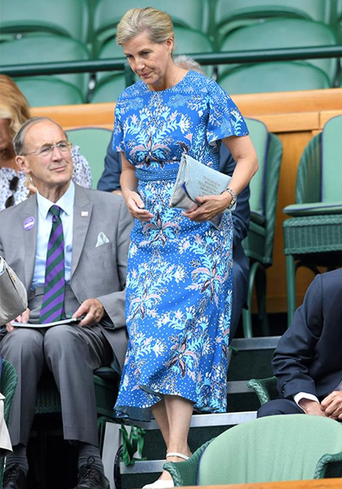 "At the 2019 Wimbledon tournament, Sophie [made the ultimate fashion statement](https://www.nowtolove.com.au/fashion/fashion-trends/sophie-of-wessex-fashion-57014|target=""_blank""). Wearing a stunning blue printed frock she accessorised with a bag with the phrase: ""I'm not saying I am wonderwoman. I'm just saying that no one has ever seen me and wonderwoman in the same place."""